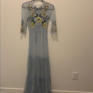 Sheer Light Blue Embroidered Boho Dress